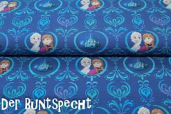 French Terry Frozen blau, Anna & Elsa, Ornamente, blau,