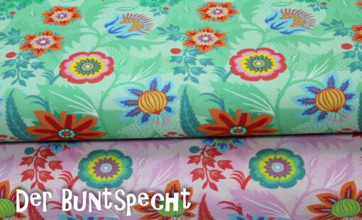 Florales Muster, Blumen, Blüten, grün, rosa, bunt,