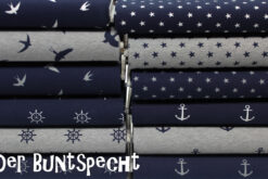 Baumwolljersey Kira, Sterne, Schwalben, Anker, Steuerrad, blau, weiß, grau, meliert,