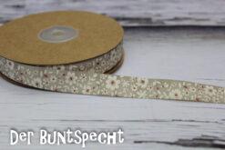 Baumwollband -Flowers- grau
