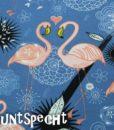 Baumwolljersey -Flamingos in Love- blau-2