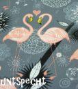 Baumwolljersey -Flamingos in Love- grau-2