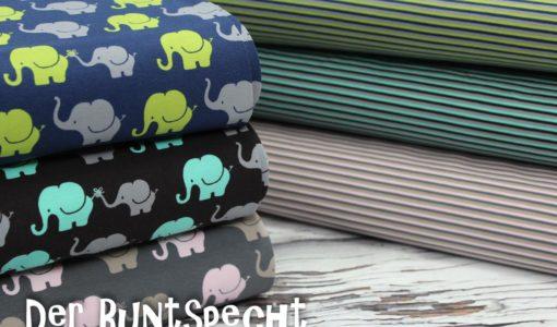 Jersey Stoff Elephant & Stripe