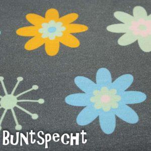 Sweat Stoff -Blumen- schlamm-gruen-3