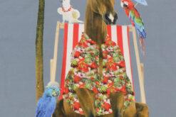 Paneel Jersey - Honululu Horse rauchblau Liegestuhl