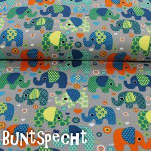 French Terry -Bunte Elefanten-