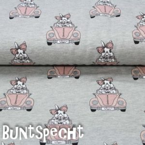 Jersey Stoff -Driving Bunny-