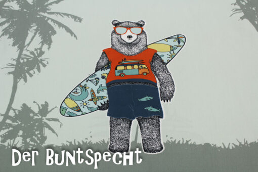 Paneel Jersey -Surfer Bear and bus 3