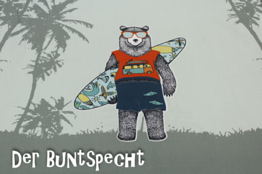 Paneel Jersey -Surfer Bear and bus