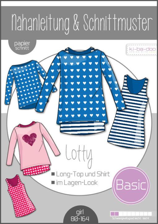 Schnittmuster Kibadoo Kinder Doppel Shirt Lotty 80 bis 164