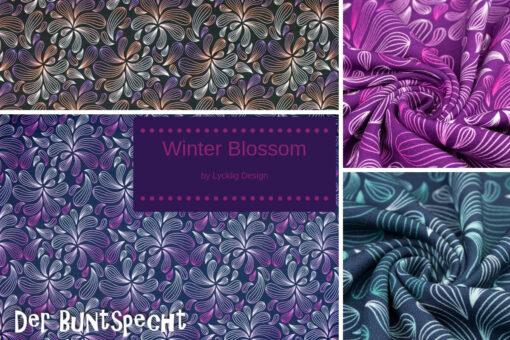 Sweatshirtstoff Winter Blossom byLycklig Desgin Blütenpracht Uebersicht