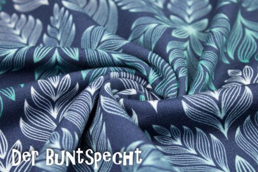 Sweatshirtstoff Winter Blossom byLycklig Desgin Große Blätter opal