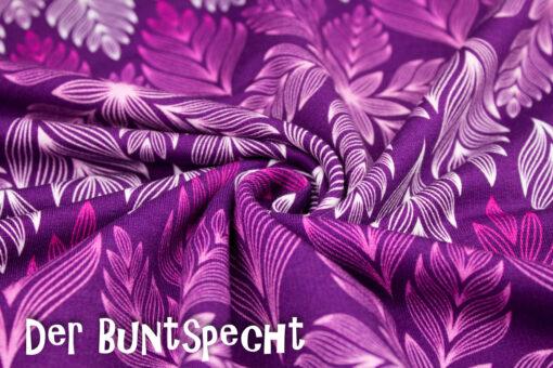 Sweatshirtstoff Winter Blossom byLycklig Desgin Große Blätter ultraviolett