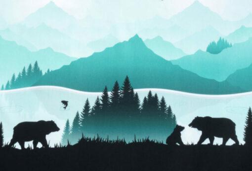 Sweatshirtstoff mir Bären vor einem Berg im Hintergrund