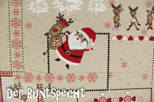 Dekostoff Weihnachtsmann und Rentiere Weihnachtsmann