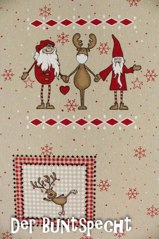 Dekostoff Weihnachtsmann und Rentiere- Freunde