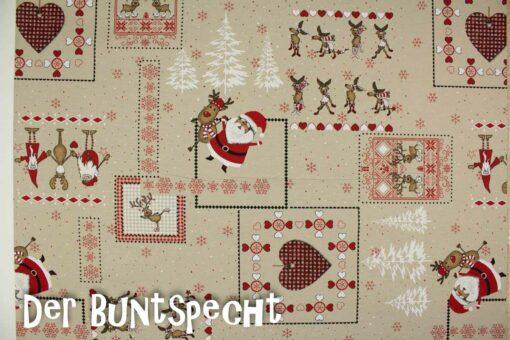 Dekostoff Weihnachtsmann und Rentiere