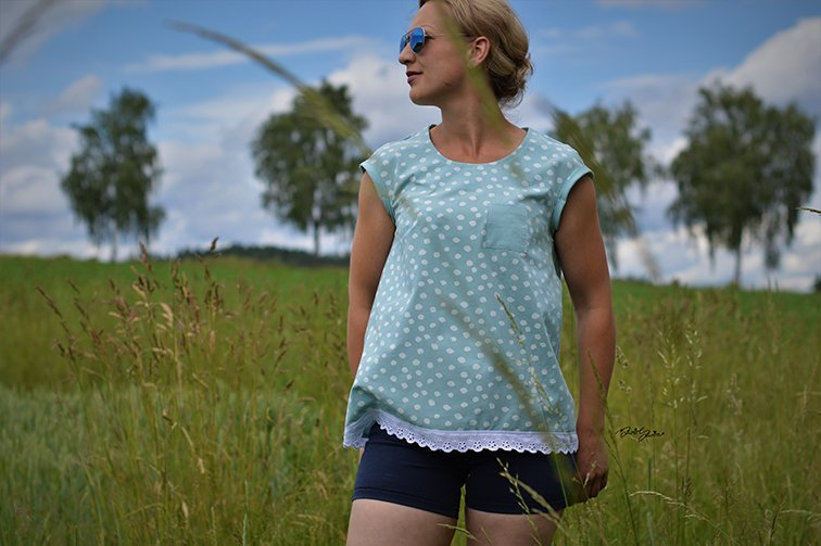 Baumwollstoff Paulina Dots_Naehbeispiel4-himmelblau
