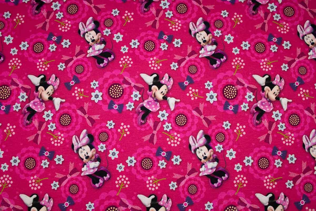 Baumwoll Sweatshirtstoff Minnie Maus Blumen