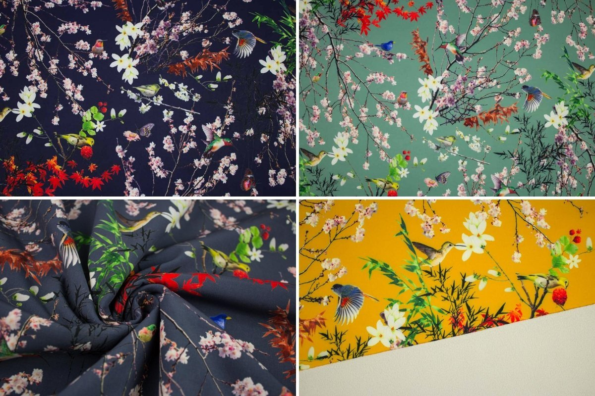 1 Einheit = 0,5 m Meterware Softshell Birds and Flowers Pastell