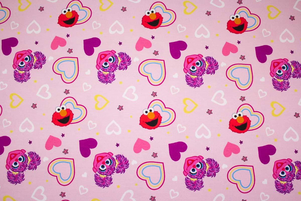 Baumwolljersey für Mädchen mit Sesamstraßenmotiv