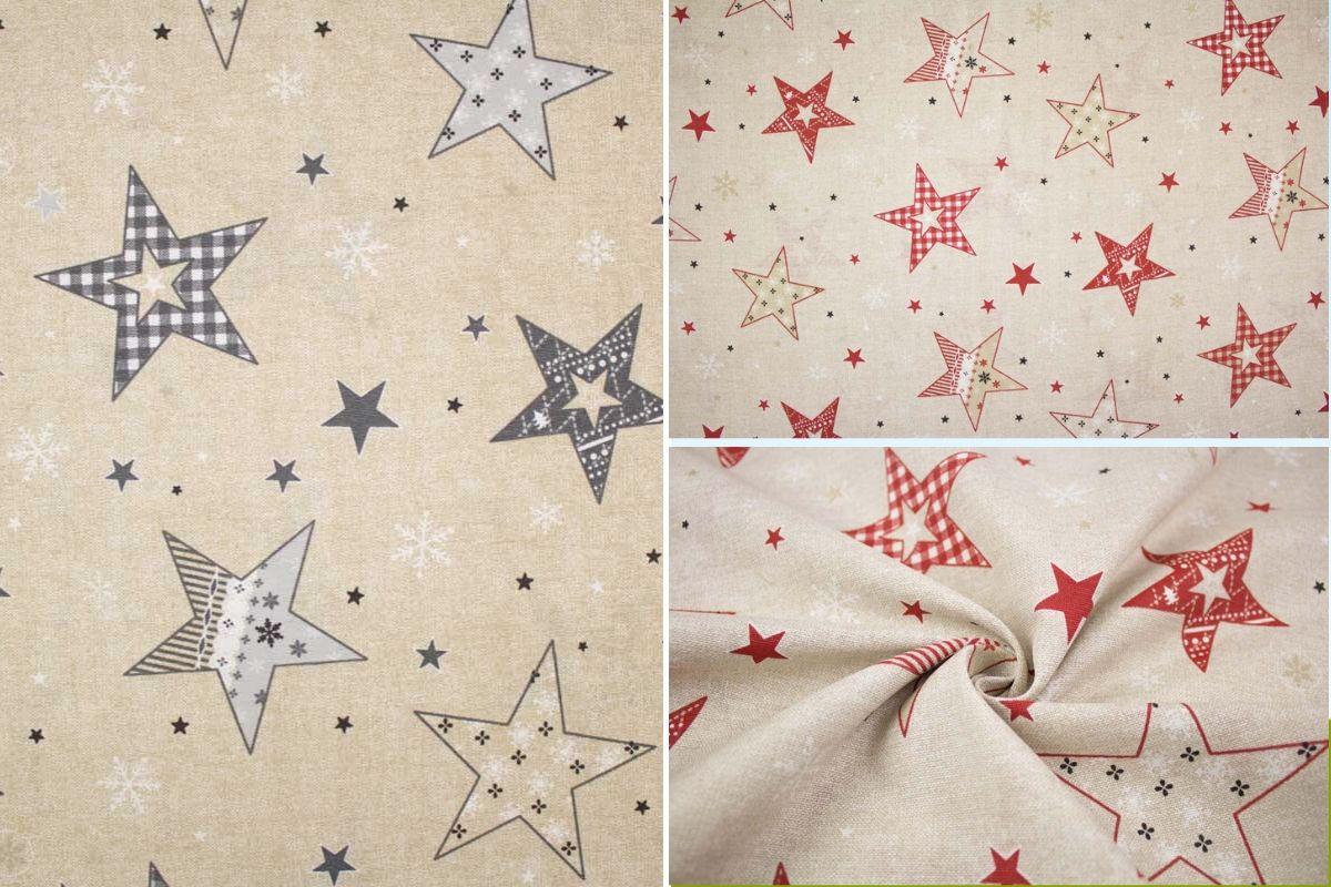 Weihnachtsstoff mit Sternen in zwei Varianten