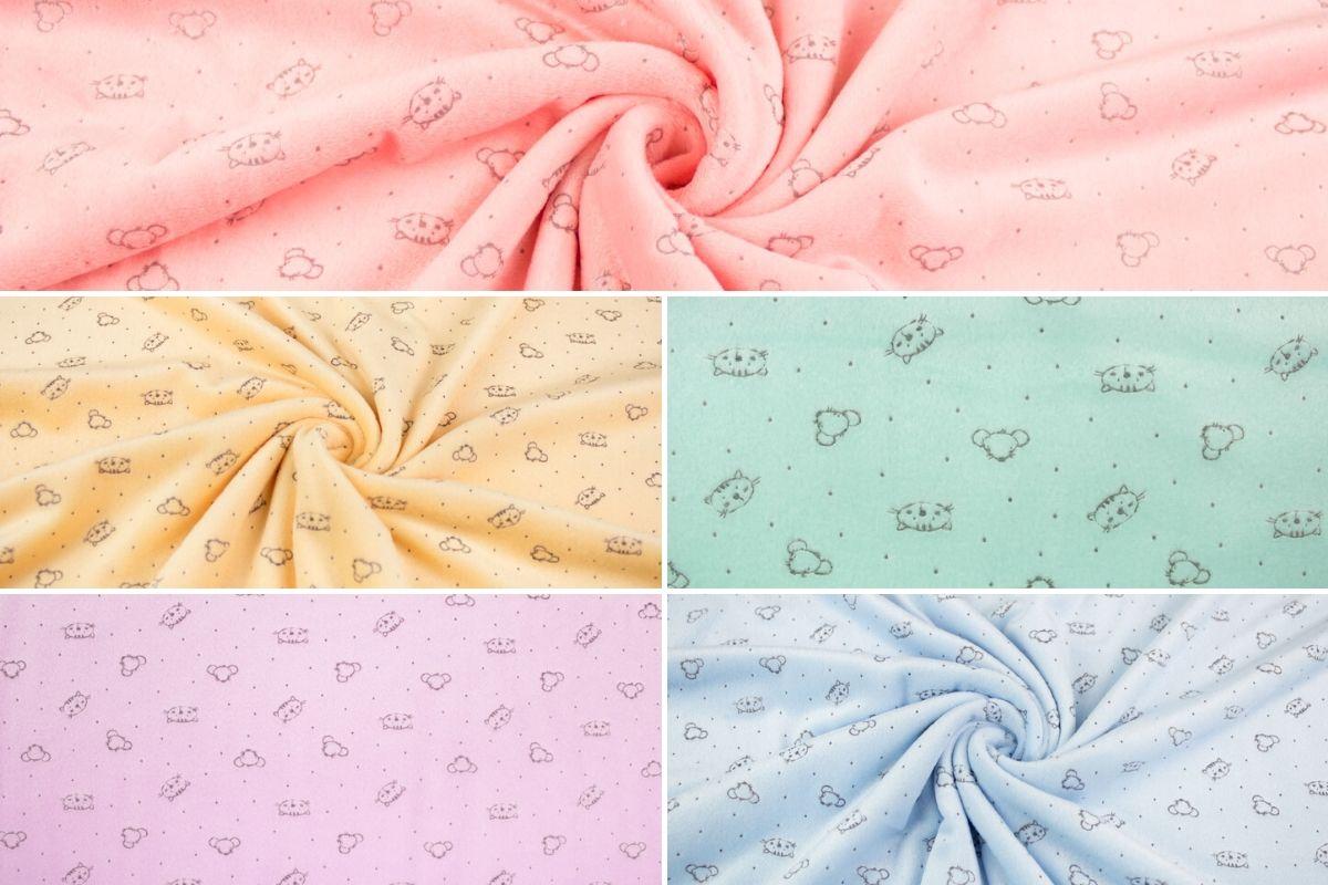 Superweicher Nicki-Fleece-Stoff mit Katzen- und Mausmotiv für wärmende Babybekleidung und Babyaccessoires