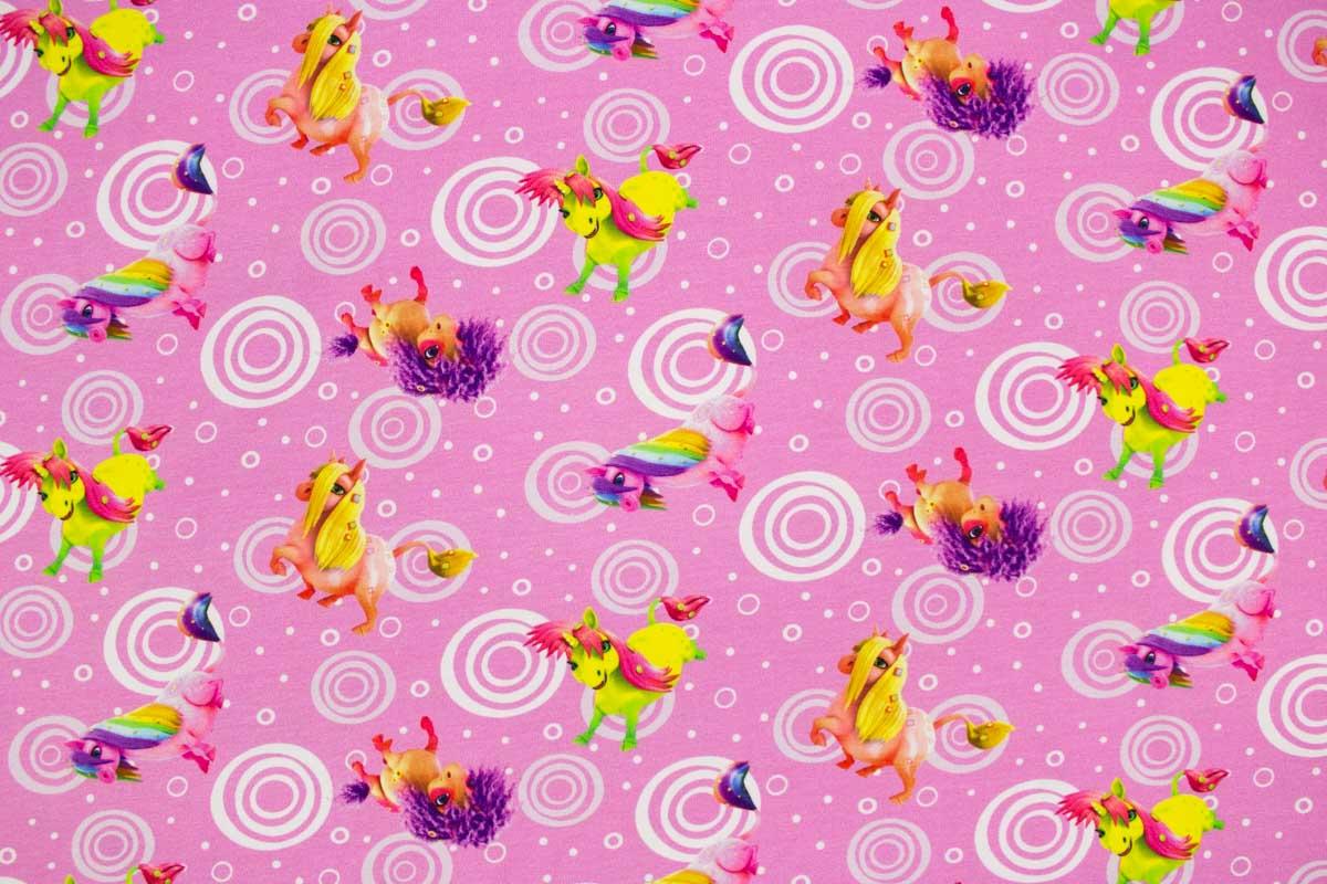 Mädchenstoff in Rosa mit Ponys