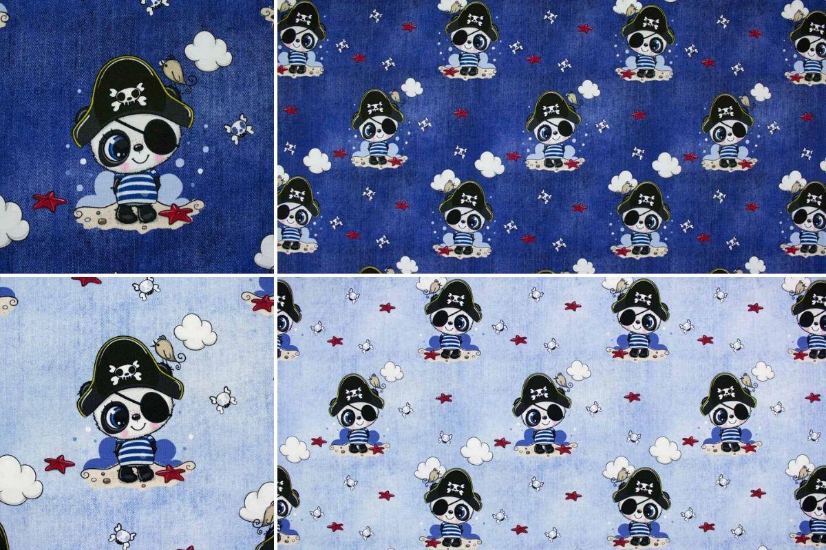 Baumwolljersey mit Pandabär im Piratenkostüm
