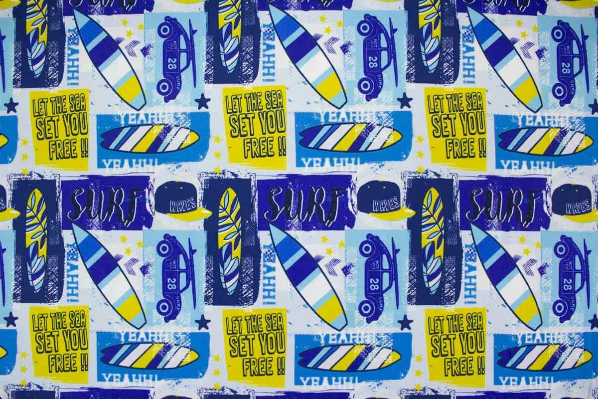 Baumwolljersey mit coolen Motiven in Blau