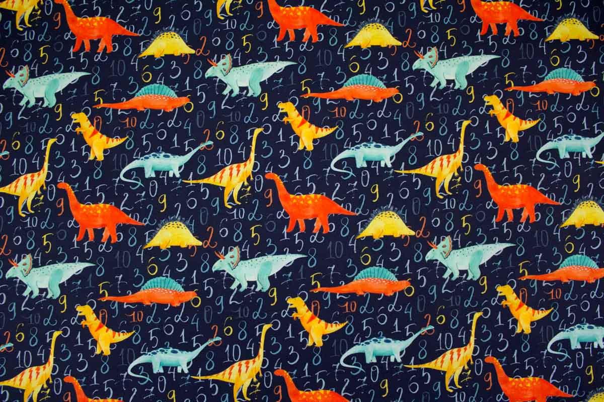 Jungenstoff aus Baumwolljersey mit Dinosauriern