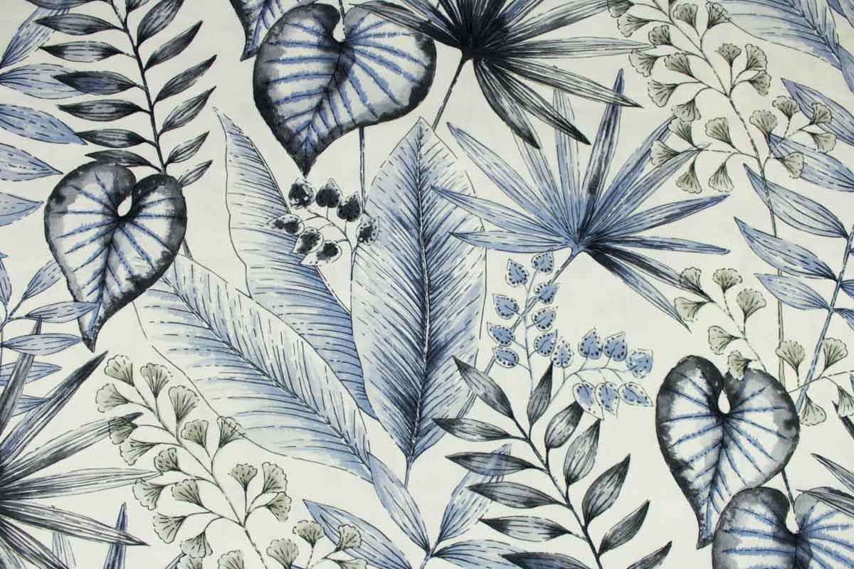 Stoff für Kissenbezüge mit tropischen Blättern