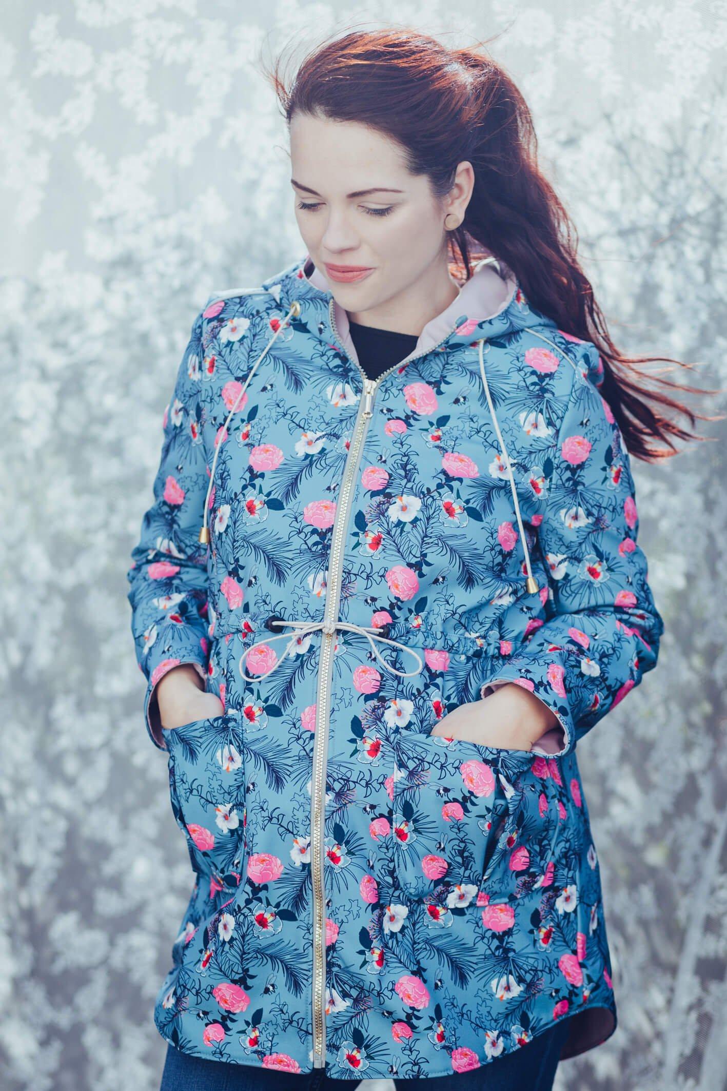 Softshell Stoff Outdoor Wasserabweisend Jacken Bunten Blättern Kinder/&Damen