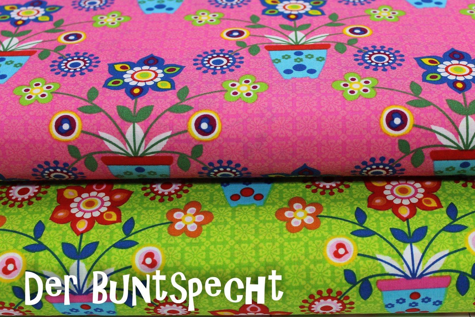 """Baumwollstoff """"Bunte Blumentöpfe"""" in pink oder kiwi"""