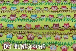 """Baumwollstoff """"Friendly Forest"""" Eulenreihen gelb"""