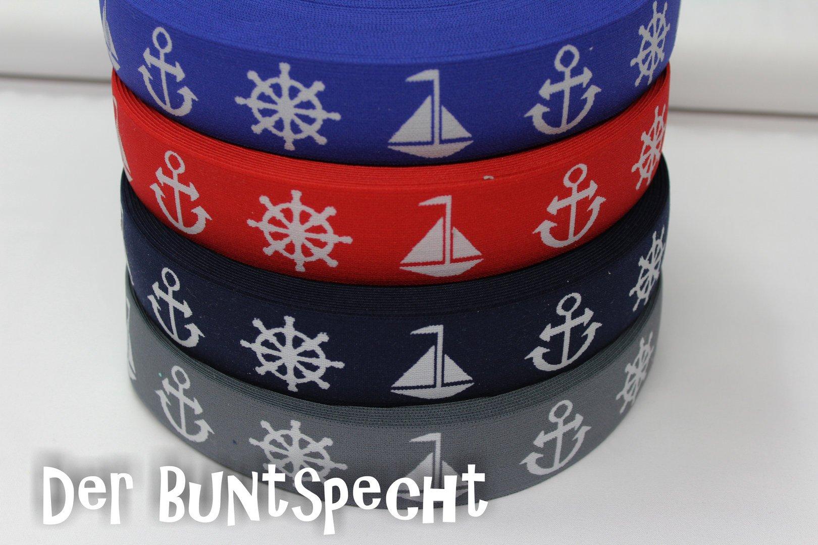 Gummiband Maritimes Flair grau, dunkelblau, rot oder royalblau