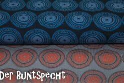 "Jersey Stoff ""Mandala-Kreise"" orange/grau oder blau"