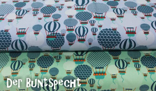 "Jersey Stoff ""Ballons""by Lots - blau oder mint"