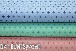 """Jersey Stoff """"Kreuze""""by Lots - hellblau, mint oder rosa"""
